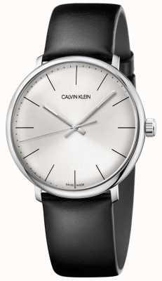 Calvin Klein Mens High Noon Silver Dial Black Leather Strap K8M211C6