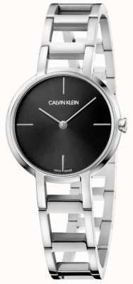 Calvin Klein Ladies Cheers Silver Stainless Steel Black Dial Watch K8N23141