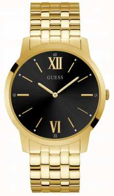 Guess Estate Mens Dress Analogue Gold Round W1073G2