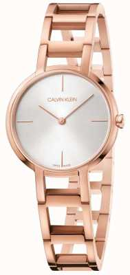 Calvin Klein Ladies Cheers Rose Gold PVD Plated Watch Silver Dial K8N23646