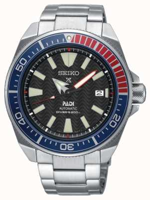 Seiko Mens Stainless Steel Padi Prospex Automatic Watch Black Dial SRPB99K1
