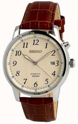 Seiko Mens Kinetic Analog Brown Strap Cream Dial SKA779P1