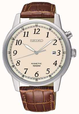 Seiko Mens Kinetic Analog Brown Strap Cream Dial SKA779P1