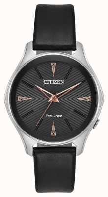 Citizen Ladies Modena Black Dial Black Leather Watch EM0591-01E