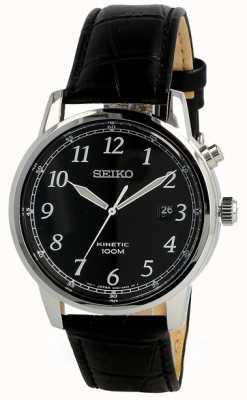 Seiko Mens Kinetic Nalog Watch Black Strap And Black Dial SKA781P1
