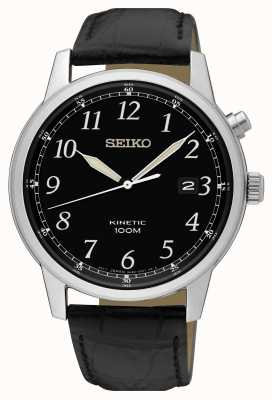Seiko Mens Kinetic Black Strap And Black Dial Watch SKA781P1