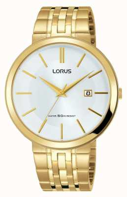 Lorus Mens Watch Gold Stainless Steel Bracelet White Dial RH914JX9