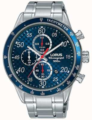 Lorus Mens Blue Dial Chronograph Sports Watch Stainless Steel RM329EX9