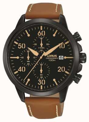 Lorus Mens Ion Plated Chronograph Watch Brown Strap Black Dial RM349EX9