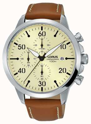 Lorus Mens Chronograph Watch Brown Leather Strap Beige Dial RM355EX9
