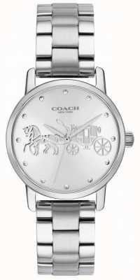 Coach Women's Grand Black Case & Bracelet Silver Stainless Steel 14502975