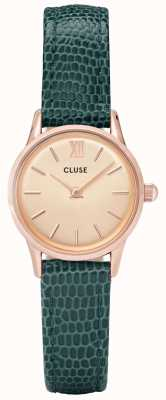 CLUSE Womens Vedette Rose Gold Lizard Green Strap CL50029