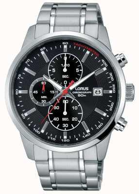 Lorus Mens Steel Quartz Watch Black Dial RM325DX9