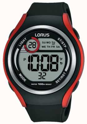 Lorus Mnes Rubber Digital Sports Watch Black And Red R2379LX9