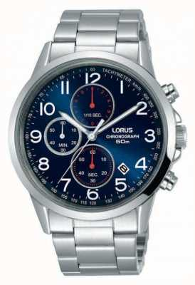 Lorus Mens Chronograph Watch Silver Steel Blue Dial RM367EX9