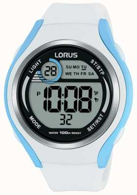 Lorus Unisex Rubber Digital Sports Watch White And Light Blue R2387LX9