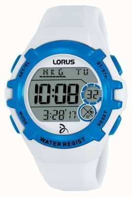 Lorus Kids Djokovic Foundation Digital Watch White Strap Blue Case R2393LX9