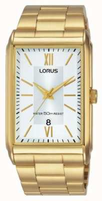 Lorus Mens Rectangular Gold Stainless Steel Watch With White Dial RH906JX9