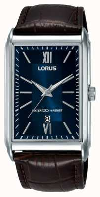 Lorus Mens Rectangular Watch Brown Leather Strap Blue Dial RH911JX9
