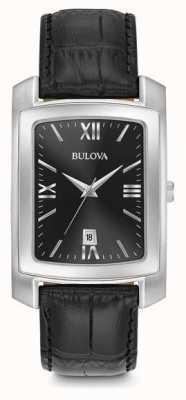 Bulova Classic Mens Rectangular Black Strap 96B269