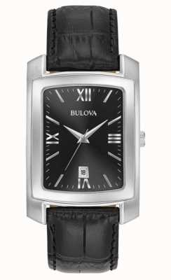 Bulova Classic Mens Rectangular Black Strap 96B269