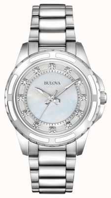 Bulova Womens Designer Diamond Mother Of Pearl 96S144