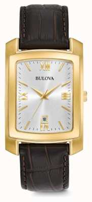 Bulova Mens Dress Brown Leather Strap 97B162