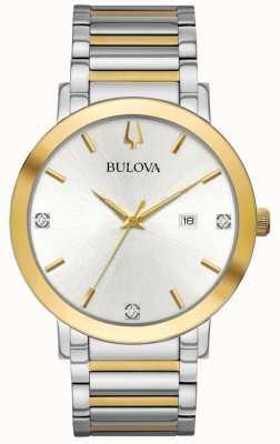 Bulova Mens Two Tone Bracelet Silver Dial 98D151