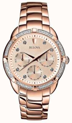 Bulova Diamond Womens Rose Gold Dial 98W178