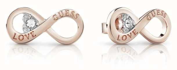Guess Ladies Rose Gold Plate Endless Love Studded Earrings UBE85011