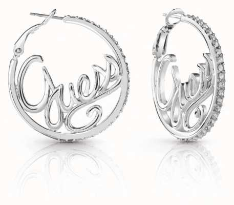 Guess Ladies Silver Plated Guess Authentics Hopped Earrings UBE85077