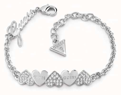 Guess Ladies Silver Plated Heart Bouquet Bracelet UBB85101-L