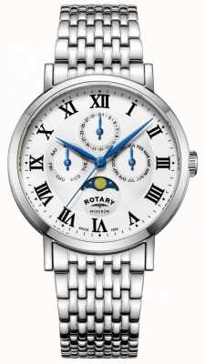 Rotary Mens Windsor Moonphase Watch Silver Tone Bracelet GB05325/01