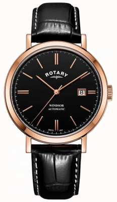 Rotary Mens Windsor Watch Gold Tone Case Black Dial Leather Strap GS05319/04
