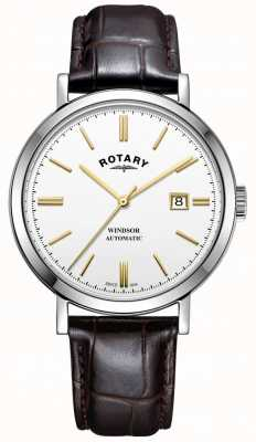 Rotary Mens Windsor Watch Silver Tone Case White Dial Leather Strap GS05315/02