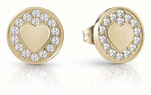 Guess Gold Jamila Heart Coin Studded Earrings UBE85013