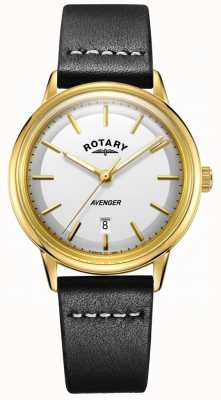 Rotary Mens Avenger Watch White Dial Gold Tone Case Leather Strap GS05343/03