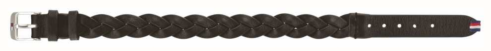 Tommy Hilfiger Black Braided Leather Belt Bracelet 2790013