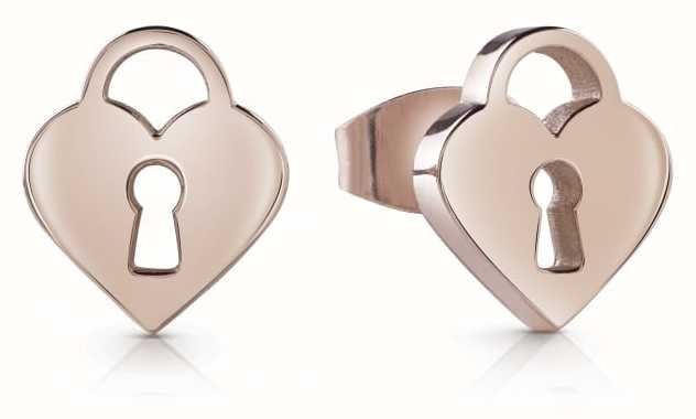 Guess Rose Gold Youth Tonic Heart Padlock Studded Earrings UBE85005
