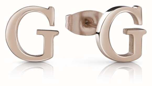 Guess Rose Gold Youth Tonic G Letter Studded Earrings UBE85006