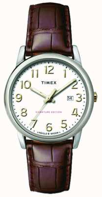 Timex Mens 38mm Easy Reader Brown Leather Strap White Dial TW2R65000