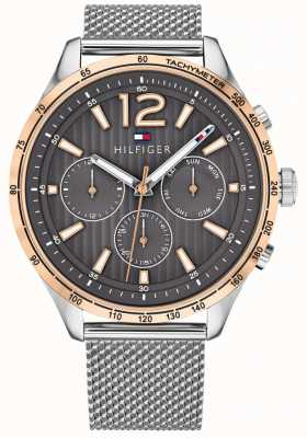 Tommy Hilfiger Men's Gavin Chronograph Watch Silver Steel Mesh Bracelet 1791466