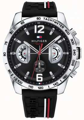 Tommy Hilfiger Mens Decker Watch Black Dial Black Rubber Strap 1791473