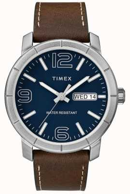 Timex Mens Mod 44 Brown Leather Strap Blue Dial TW2R64200