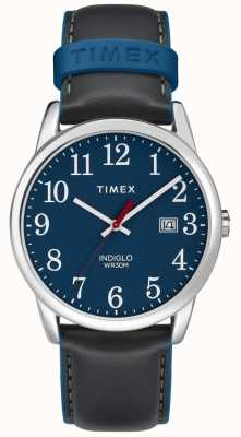 Timex Mens 38mm Easy Reader Grey Leather Strap Blue Dial TW2R62400