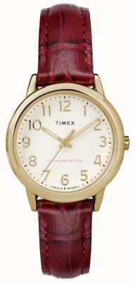 Timex Womens 30mm Easy Reader Burgundy Croc Strap Cream Dial TW2R65400