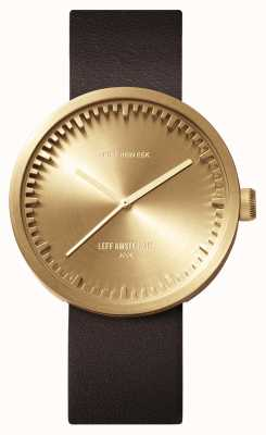 Leff Amsterdam Tube Watch D38 Brass Case Brown Leather Strap LT71022