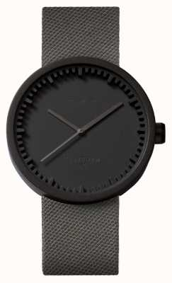 Leff Amsterdam Tube Watch D42 Black Case Grey Cordura Strap LT72015