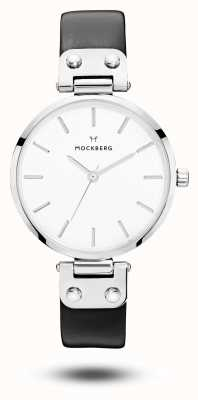 Mockberg Astrid Black Leather Strap White Dial MO1002