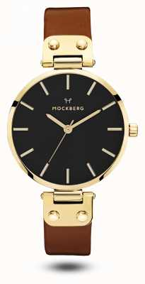 Mockberg Women's Ilse Black, Brown Strap Black Dial MO114